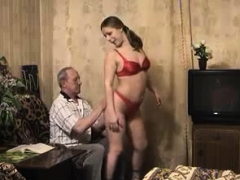 young russian blonde sex with not grandpa in couch
