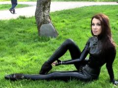 natural-brunette-ballet-heels-latex-catsuit-2