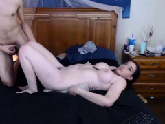 Curvy brunette with pigtail gets her hairy pussy fucked live