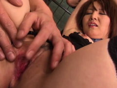 Japanese babe gets a cock in both holes