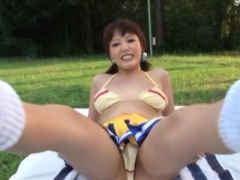 Playsome minx Mao Hamasaki with firm tits gets body licked