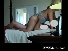 Milf rides her hubby's cock to orgasm.