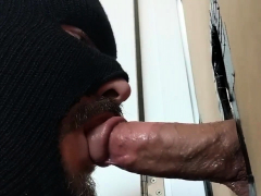 Darksome gay glory hole blowjob