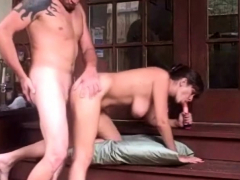 Outdoor Fuck With Amateur Babe On Her Deck With Stud