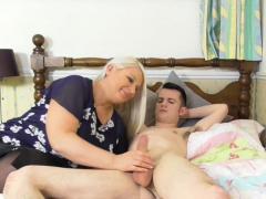 Old woman Sami titfucked Sam's meaty cock