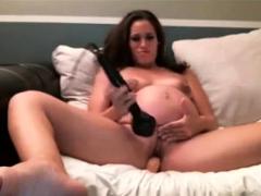 Pregnant girl masturbates for BF cam