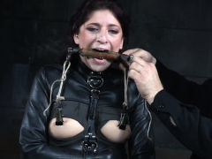 Gagged sub whipped by master while on sybian