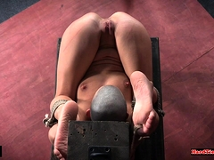 Gagged smalltits sub whipped and toyed by dom