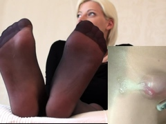Nylon pantyhose girlfriends humping through nylon panty