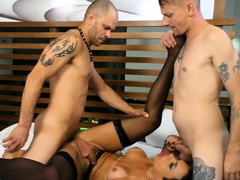 Tgirl Bianca Reis Is Used by Two Guys