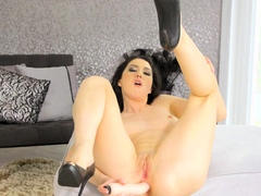 Tall Pinup Meri Kris Making Out With Her Huge Dildo