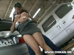Shy Girl Ravished In Car Garage