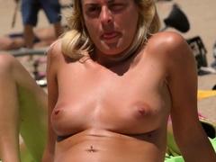 Dazzling blonde Topless Beach Voyeur