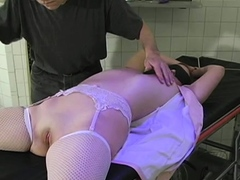Sexual floosy is masturbating with a marital-device