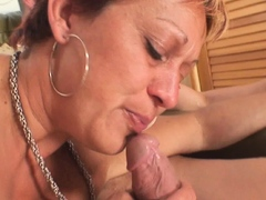 Two buddy share naked old mature woman