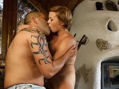 Delightful redhead Lena Potapova chokes on a slim jim