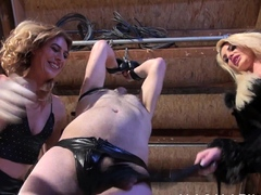 Blonde mistresses humiliating their male slave