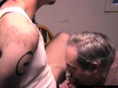 Blindfolded straight chub blown by older guy