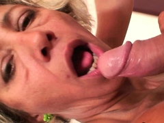 Hot mature blonde pleases younger dude