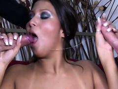 Sexy MILF slut has gangbanged and cream pied by 4 big cocks