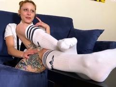 Horny schoolgirl sniffs and licks feet
