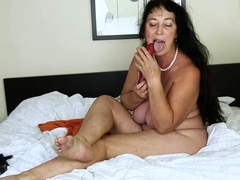 sexy brunette with massive boobs rides penis