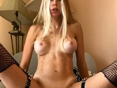 Awesome Big Boobs Blonde Masturbates In The Shower