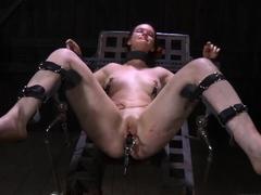 Tied up bondman receives lusty gratifying her wicked twat