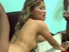 We have the Asian honey Lara Croft as she gets it on with