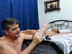 Asian twink blows dilf before bareback