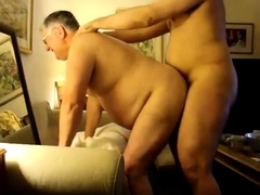grandpa getting cum over belly after beeing fucked