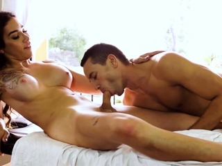 Big tits trans masseuse Tori Mayes gets anal fucked by a guy