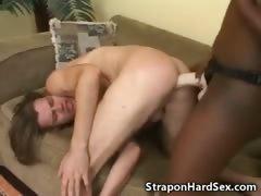 Black Hooker Fucks Man With A Strapon!