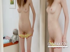 Teen Minx Gloria Switching Panties In The Mirror